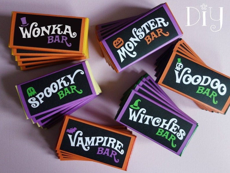 Halloween candy bar wrappers Halloween party printables Wonka image 0