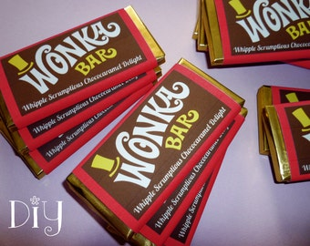 Wonka Bar labels Wonka Bar candy bar label Willy Wonka birthday party Charlie and the Chocolate Factory party favor DiY digital PDF file ReD