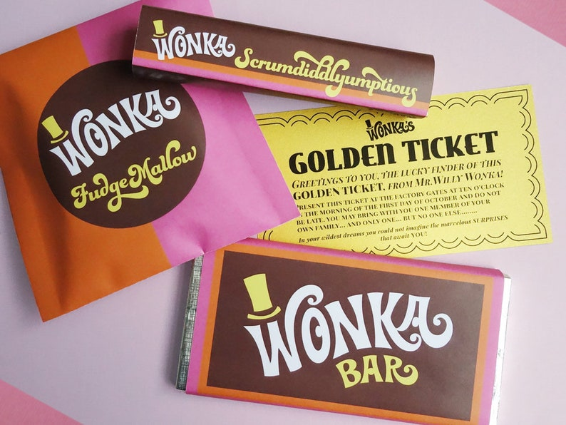 photo regarding Printable Wonka Bar Wrapper named Golden Ticket invitation, Wonka Bar, FudgeMallow Scrumdiddlyumptious sweet wrappers Willy Wonka social gathering Do it yourself printable package ReTRo oRaNGe Red