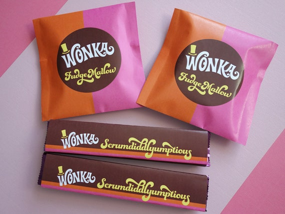 Wonka Scrumdiddlyumptious Fudgemallow Labels Wonka Bar Candy Wrappers Willy Wonka Party Favors Diy Printable Files Retro Orange Pink
