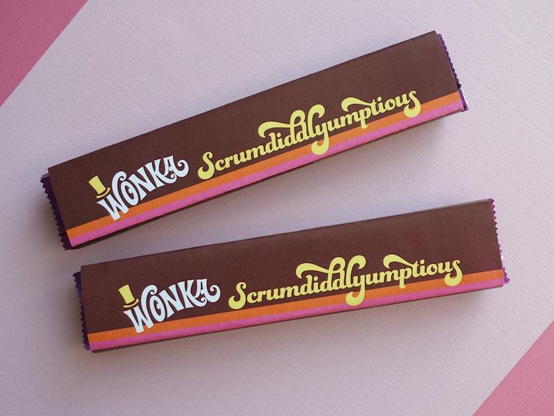Willy Wonka Scrumdiddlyumptious labels Wonka candy wrapper image 0