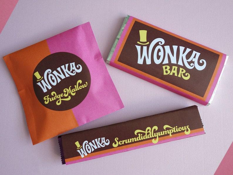 Wonka Bar FudgeMallow & Scrumdiddlyumptious labels Wonka Bar image 0