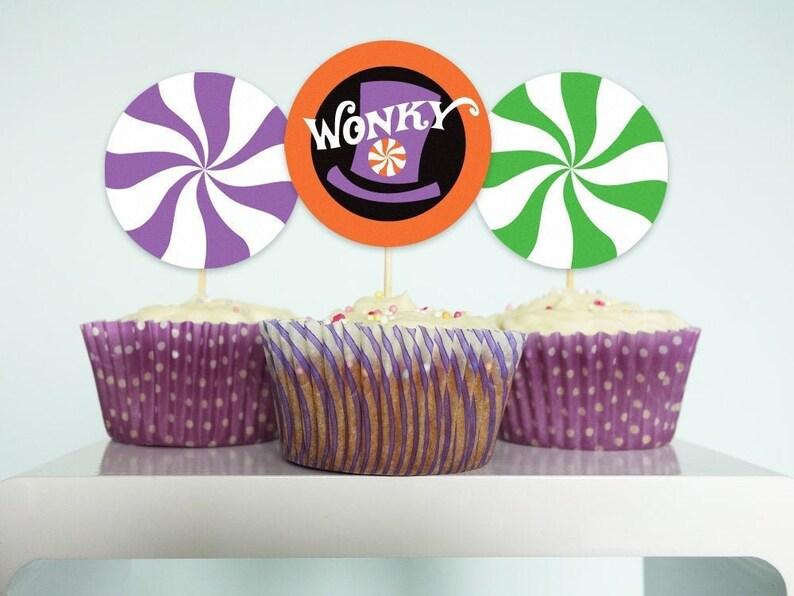 Halloween Wonka cupcake toppers Willy Wonka Halloween party image 0