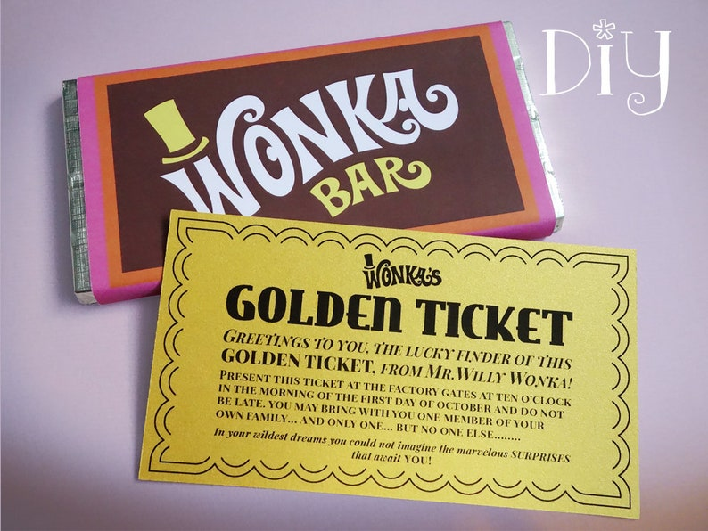 image regarding Printable Golden Tickets referred to as Golden Ticket invitation Wonka Bar sweet wrappers Willy Wonka social gathering Do it yourself printable package ReTRo oRaNGe Red