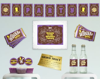 Willy Wonka birthday party decorations DiY printable party decor basic essential complete kit Charlie and the Chocolate Factory party PuRPLe