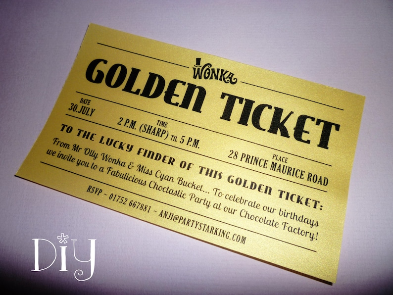 Golden Ticket Invitations Printable Willy Wonka Birthday Party Charlie And The Chocolate Factory DiY Editable PDF