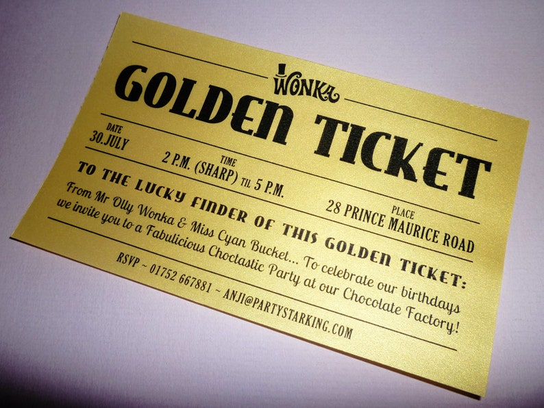 Golden Ticket Invitations Printed Wedding Willy Wonka Invitation Printing Birthday Party