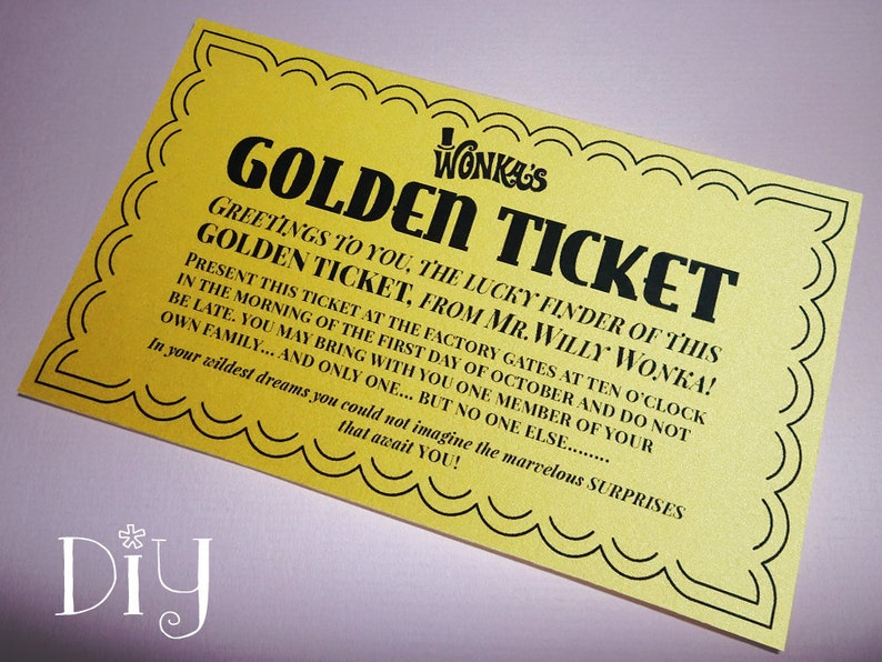 photograph regarding Golden Ticket Printable called Golden Ticket invites printable Willy Wonka video clip design Golden Tickets Willy Wonka and the Chocolate Manufacturing facility get together Do it yourself editable ReTRo