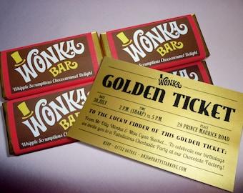 Wonka Bar Golden Ticket invitations Willy Wonka birthday