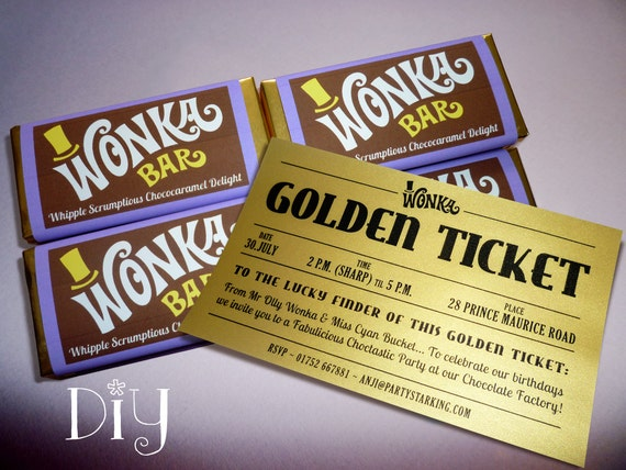 Willy Wonka Birthday Party Wonka Bar Golden Ticket Invitations Wonka Candy Bar Wrappers Willy Wonka Invitations Printable Pdf File Purple