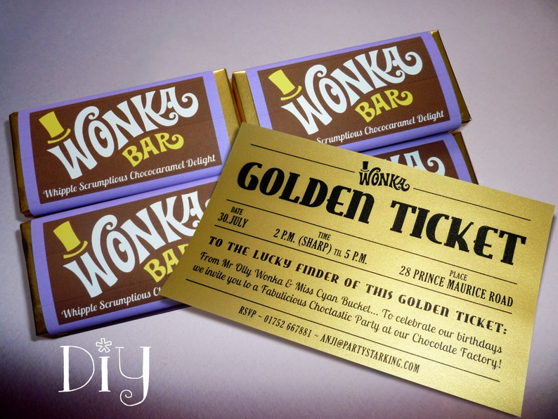 Willy Wonka Birthday Party Bar Golden Ticket Invitations Candy Wrappers Printable PDF File PuRPLe