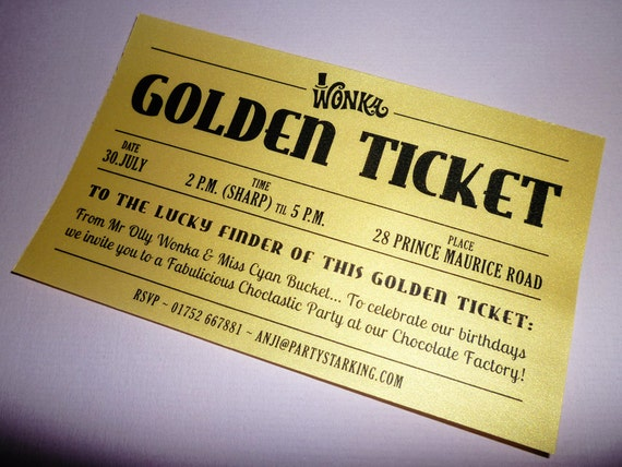 golden ticket party invitations printed golden ticket wedding etsy