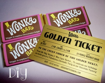Wonka Bar & Golden Ticket invitations Willy Wonka birthday party Wonka candy bar wrapper Willy Wonka invitation printable personalized PiNK