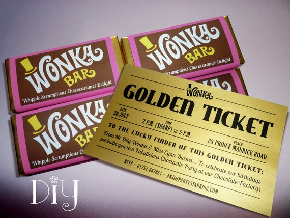 Wonka Bar Golden Ticket Invitations Willy Wonka Birthday Etsy