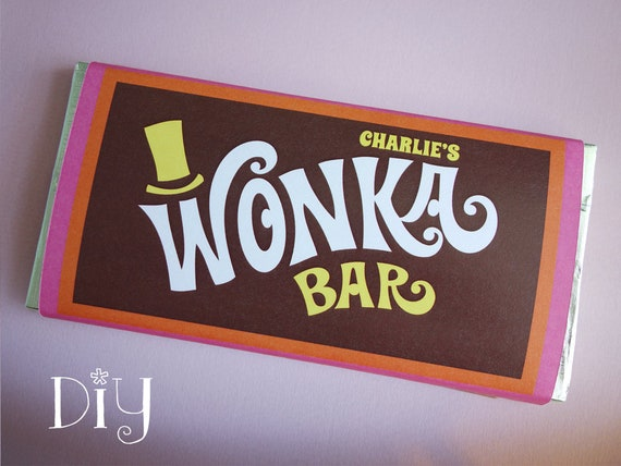 Wonka Bar Wrappers Personalized Name Wonka Bar Candy Bar Labels Willy Wonka Party Favors Printable Editable Pdf Template Retro Orange Pink