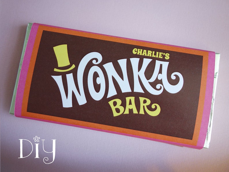 Wonka Bar wrappers Personalized name Wonka Bar candy bar image 0