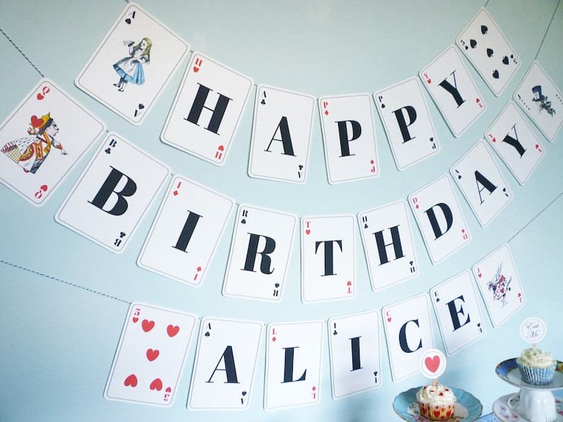 Alice In Wonderland Banner Playing Card Printable DiY