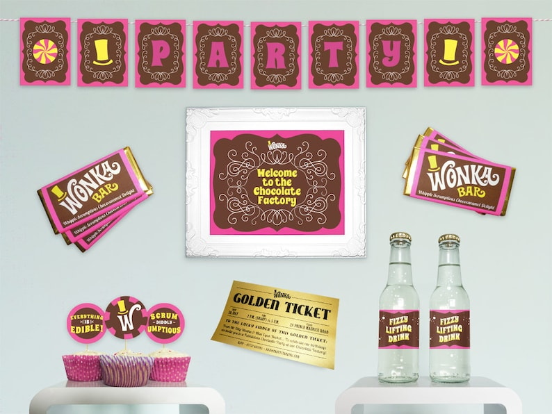 Willy Wonka printable party kit birthday party decorations DiY image 0