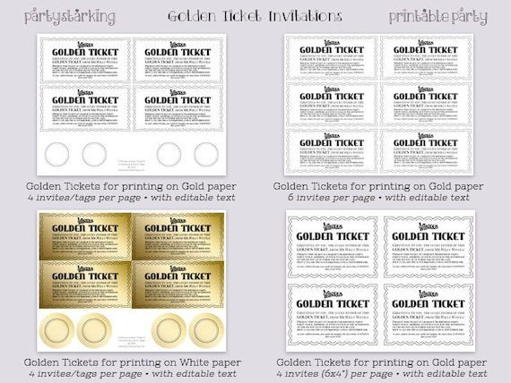 photo relating to Golden Ticket Printable referred to as Golden Ticket invites printable Willy Wonka online video structure Golden Tickets Willy Wonka and the Chocolate Manufacturing unit occasion Do it yourself editable ReTRo