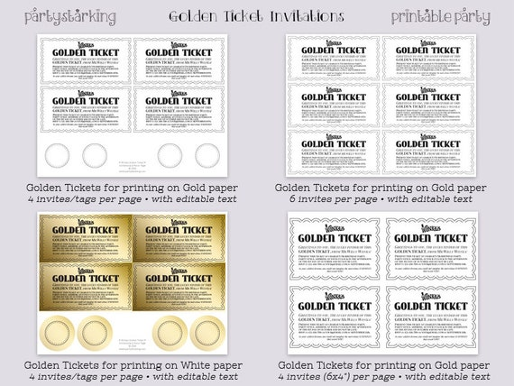 image relating to Printable Golden Tickets known as Golden Ticket invites printable Willy Wonka video style and design Golden Tickets Willy Wonka and the Chocolate Manufacturing unit celebration Do-it-yourself editable ReTRo