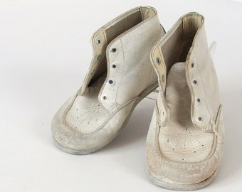 Vintage Toddler White Leather Shoes, Step Master High Tops