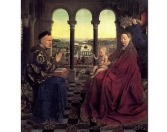 The Virgin and Chancellor Rolin by Jan Van Eyck - a Frameable Masterpiece, 1954 Art Print