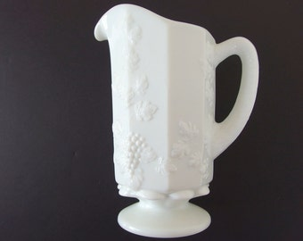 Vintage Westmoreland Milk Glass Pitcher Paneled Grapes