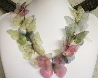 Summer - Handmade Butterfly Necklace with Silk Organza Ivory, Pink, Light Blue and Green Butterflies and Moths - One of a Kind