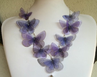 Lavender Butterfly - Handmade Silk Organza Butterflies Necklace and Glass Vial with Real Lavender Flowers - One of a Kind - Ready to Ship