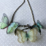 Butterfly Tree - Handmade Teal Aqua Seafoam Silk Organza Fabric Butterflies Necklace on Antique Bronze Branch Tree