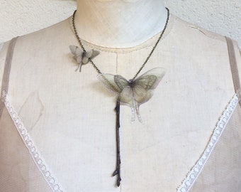 Handmade Butterfly Necklace with Silk Organza Luna Moths Gently Posed on a Real Branch Tree in Electroformed Copper Brown Patina OOAK