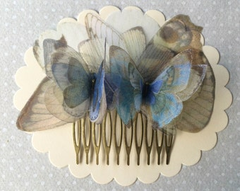 I Will Fly Away - Handmade Hair Comb with Ligh Blue Ivory White Silk Organza Butterflies and Wings - One of a Kind