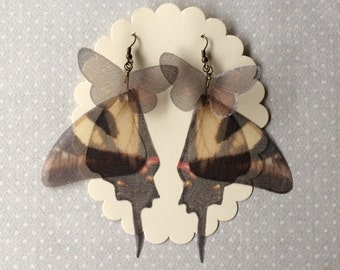 I Will Fly Away - Handmade Silk Organza Swallowtail Brown and Beige Butterfly Wings Earrings