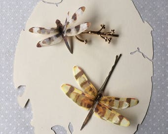 Branch Tree - Handmade Dragonfly Hair Bobby Pins in Cotton and Silk Organza Fabric - 2 pieces - OOAK
