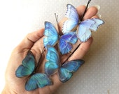 Butterfly Hair Bobby Pins in Teal, Blue Cotton and Silk Organza Fabric - Iridescence - 4 pieces