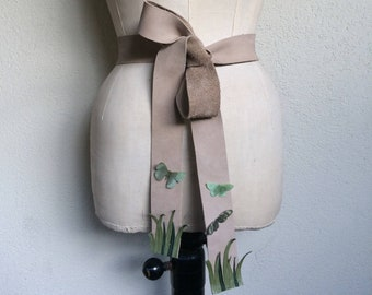 Garden - Handmade Beige Real Leather Obi Belt with Green Grass and Cotton and Silk Organza Fabric Butterflies OOAK - Ready for Shipment