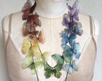 Rainbow Butterfly - Handmade Necklace with Double Chain Full of Silk Organza Butterflies, Statement Necklace, Butterfly Necklace, OOAK