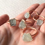 Fluorite Ring, Raw Stone, Raw Fluorite, Copper Electroformed - 1 piece - One of a Kind