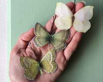 Handmade Butterfly Hair Bobby Pins in Cream, Seafoam, Sage Green and Yellow Cotton and Silk Organza Fabric - 3 pieces