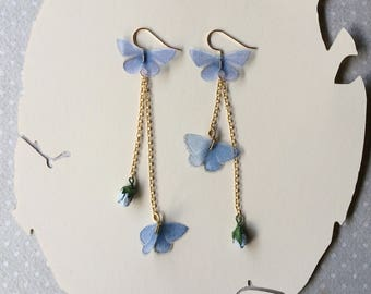 Tiny Gold - Handmade Silk Organza Fabric Light Blue Butterfly Chandelier Earrings with Paper Rosebuds - Statement Earrings - Bridal Jewelry