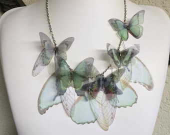 Teal - Handmade Seafoam Teal and White Silk Organza Fabric Butterflies Moths and Wings Necklace - Made to Order