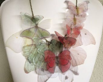 Handmade Silk Organza Fabric Butterflies and Wings Great Boho Statement Necklace - Inspired by North Italy Autumn