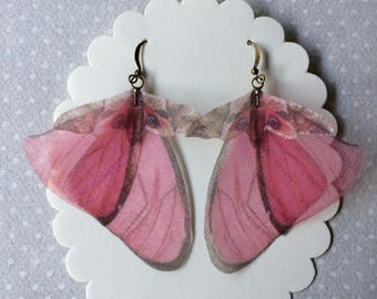 I Will Fly Away - Handmade Pink Butterfly Moth and Wings Earrings Silk Organza - Ready to Ship