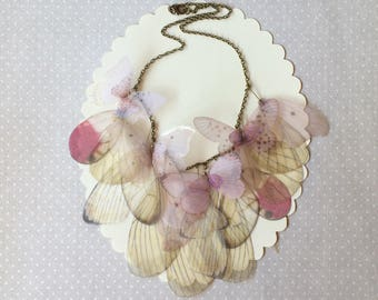 Handmade Necklace with Ivory and Pink Silk Organza Butterflies and Wings - One of a Kind