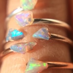 Opal Ring, Opal Sterling Silver Ring, Raw Stone, Stacking Ring, Dainty Ring, Best Friend Gift, October Birthstone Ring, Ethiopian Opal