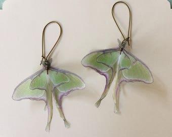Handmade Luna Moth (Actias Luna) Butterfly Moth Earrings in Silk Organza