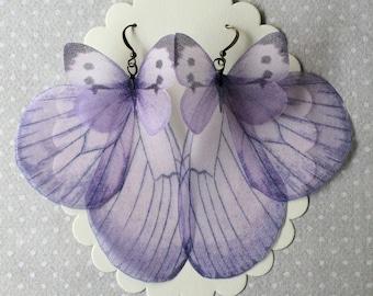 Handmade Lavender Butterfly Wings Earrings, Unique Earrings, Butterfly Earrings, Silk Organza Earrings - Ready to Ship