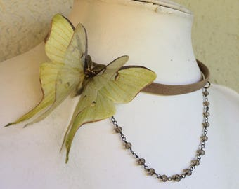 Victorian - Handmade Taupe Leather Choker with Cotton and Silk Organza Green Fabric Luna Moth and Chain Glass Beads