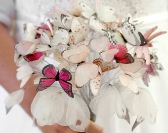 Handmade Butterflies Moths and Wings Wedding Bouquet Bride with Cotton and Silk Organza Fabric - Custom and One of a Kind