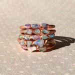 Raw Opal Ring, Dainty Opal Ring, Stacking Opal Ring, Copper Opal Ring, Electroformed Opal Ring, October Birthstone Ring